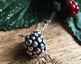Sterling silver Blackberry necklace. Blackberry pendant - gift for her