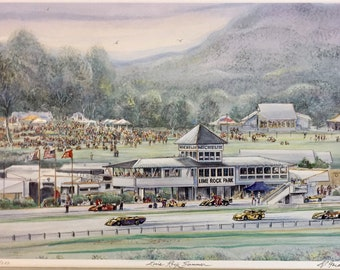 """Lime Rock Race Track Artwork -automobile racing in New England, wall art 11""""x14""""mat size, auto art, car collectors"""