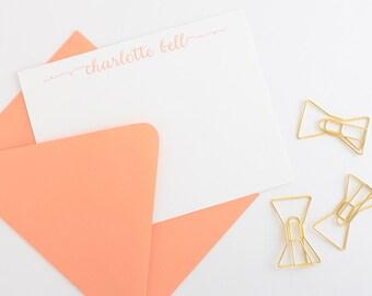 Personalized Stationery Set | Women's Personalized Stationery | Modern Script Stationery Set | Thank You Note Cards | Custom Stationery Set