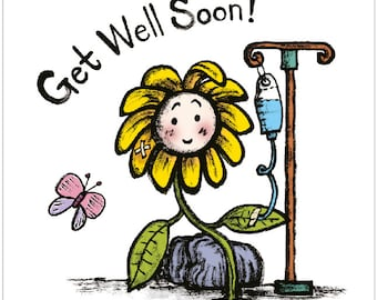 Cute Get Well Soon Card, Thinking of You Card - with Flower Illustration