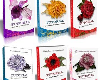 Six leather flower  making tutorials Japanese  technique  PDF e books