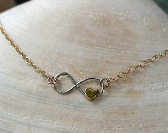 Two Tone Infinity Necklace