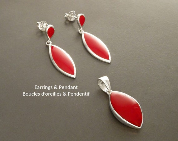 Red Set, Earrings and Pendant Set, Sterling Silver Jewelry, Almond Shape, Bright Red Earrings, Dainty Jewelry, Red Jewelry, Modern Design