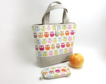 Children handbag with owls, coordinated coin purse in option / Toddler fabric easter basket / Pastel colors  and beige