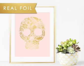 Floral Skull- Gold and Blush Pink Art Print