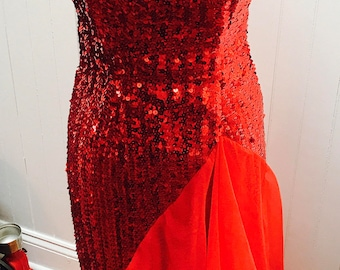 Vintage 1970s Red Sequin Mermaid Style Long Gown - XS/0