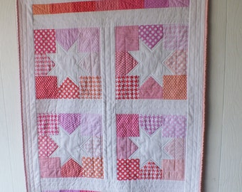 Pink and Coral Stars Baby Quilt