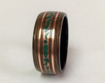 Bentwood Ring, Walnut Bentwood Ring with Crushed Malchite and Copper bands, Free Shipping