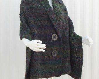 Handmade Hand Knit Shawl, Knitted Wrap Knit Cape Black, with Multi Color Varigation Boucle' Plus Sizes Available