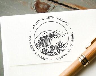 Address Stamp Self-Inking, Ocean Wave Beach House, Custom Rubber Stamp, Personalized Stamp, Custom Stamp, Destination Wedding Stamp