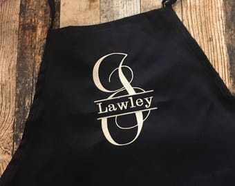 Personalized Apron - Monogrammed Apron - Available in Black, White, Blue, Green, Red and more - Split Initial Last Name Kitchen