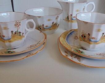 Art Deco Tea set for 2 hand painted Melba ware Hand painted venice Gondola lovers