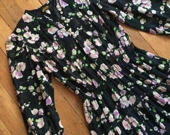 vintage 1970s floral dress