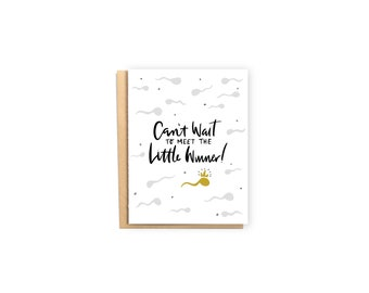 Little Winner- New Baby Card, Baby Shower Card, New Mom Card, New Parents Card, Funny Card, Sperm Card