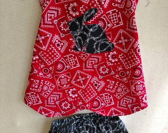 2T Red / Black Rabbit Sundress With Black Barbwire Bloomers