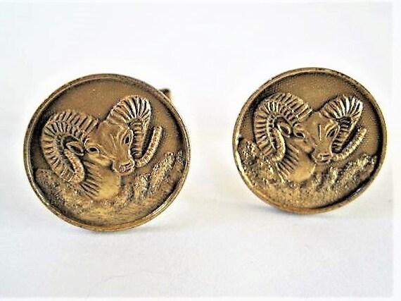 Aries Zodiac CuffLinks, Pat 2974381, Rams Head Cufflinks, 50's Mid Century Gold Tone