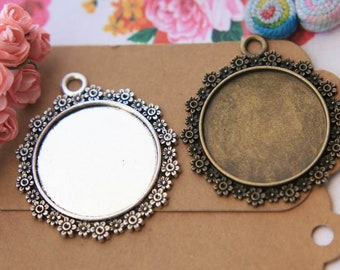 Photo glass cabochon bezels 30mm pendant tray cameo bases settings necklace pendant blanks findings supplies PTR30-A2470