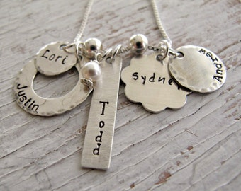 Mother's Necklace, Hand Stamped Necklace, Family Necklace, Personalized, Grandmother, Grandma, Mother's Day Gift
