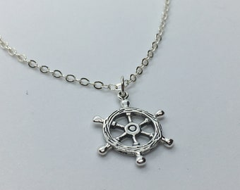 Sterling Silver Ship Wheel Necklace, Pirate Jewelry, Ships Wheel Art, Custom Chain Length, Makes A Unique Gift!