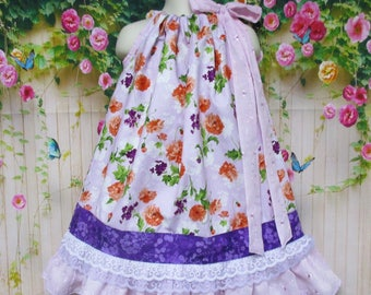 Spring Girls Dress 3T/4T Lilac Pink Floral Eyelet Pillowcase Dress, Pillow Case Dress, Sundress, Boutique Dress