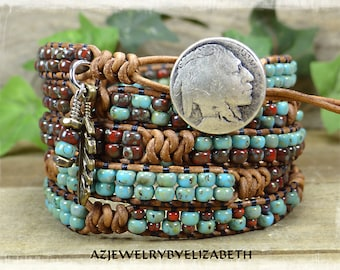 Native American/ Seed Bead Leather Wrap Bracelet/ Beaded Leather Wrap/ Seed Bead Leather Bracelet/ Boho Wrap Bracelet/ Gift For Her..
