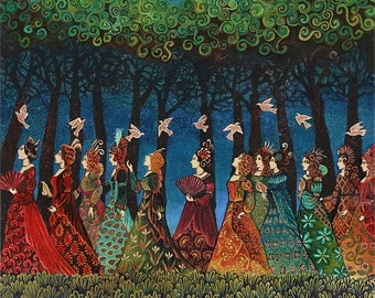 Twelve Women with Birds 8x10 Print Pagan Mythology Fairy Tale Psychedelic Bohemian Gypsy Goddess Art