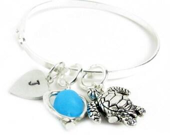 Personalized Bracelet, Charm Bangle Bracelet, Beach Jewelry, Sea Turtle Bracelet, Beach Bracelet, Initial Bracelet, Heart Bracelet