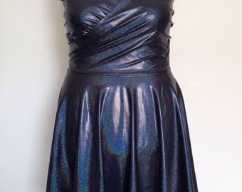 Black Holographic Skater Dress