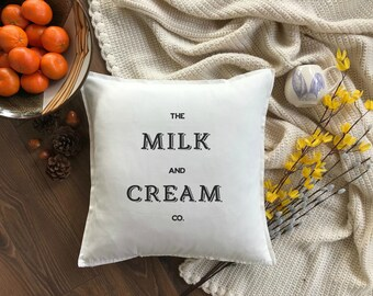 Milk & Cream Farmhouse Pillow | Farmhouse Pillow | Vintage Farmhouse Pillow Cover | Cotton Pillow Cover | Dairy Farm Pillow