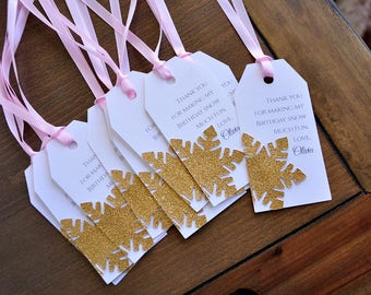 Pink and Gold Thank You Tags. Made in 2-5 Business Days. Winter Onederland Party Supplies. First Birthday Thank You Tags. 10CT.