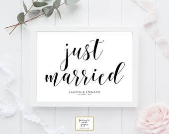 Just Married Sign, Just Married Wedding Sign, Just Married Printable, Just Married Template, Honeymoon Decorations, Honeymoon Signs, PDF