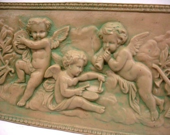 "Eros Musical Cherub Cupid Greek Wall Sculpture Plaque Angels 17"" Antique Finish"