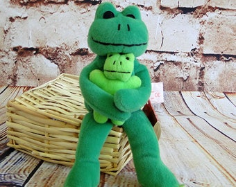 Vintage Retired Russ Berrie / Lolly Frog holding Baby Froglet / Skribbles Collection / Stuffed Plush Toy