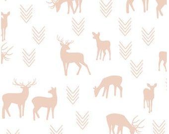 Deer Baby Bedding - Changing Pad Covers / Fitted Crib Sheets / Mini Crib Sheets /Woodland Nursery Bedding /White Blush Nursery /Crib Bedding