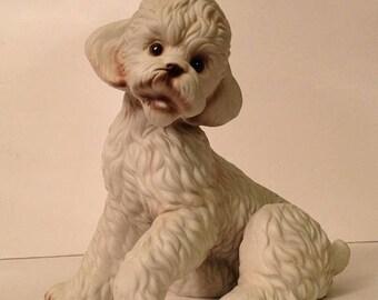 ON SALE Vintage Royal Crown Ceramic Dog Poodle Figurine Figure Old Vintage