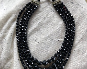 Vintage Laguna black beaded necklace.