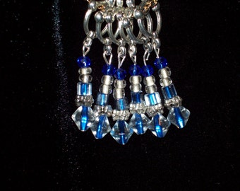 Blue and Silver Stitch Markers Gift for Knitter Yankee Fan