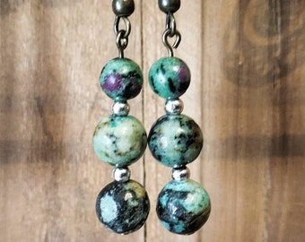 turquoise earrings and rubis zoisite