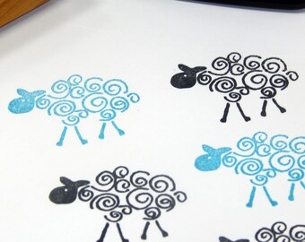 Curly Wurly Sheep Olive Wood Stamp