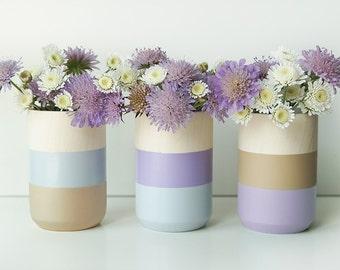 Wooden Vases - Home Decor - Purple - Homeware - Set of 3 - Livingroom Accessories