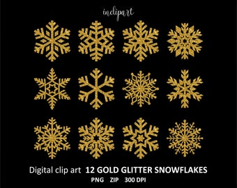 Snowflake clipart. Gold glitter snowflake clipart. 12 gold Snowflakes PNG. Christmas, New Year clip art. Business use. Digital download PNG.