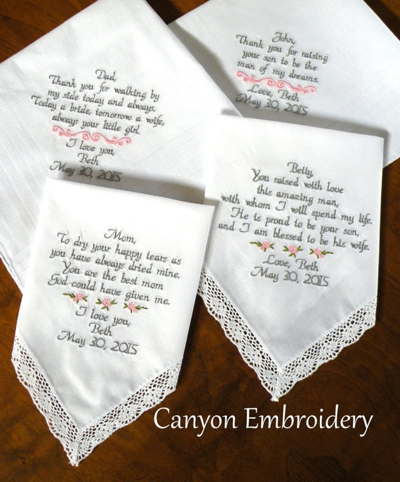 Wedding Handkerchiefs For The Family: Embroidered Wedding Handkerchief Handkerchiefs For YOUR