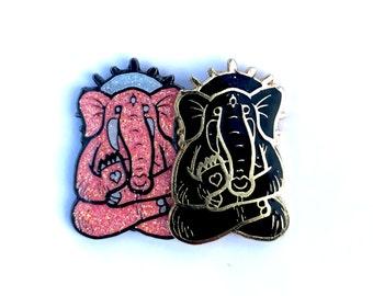 super limited Spirit Elephants 1 .25'' soft enamel 2x posted festival hatpin black on gold and super glitter versions