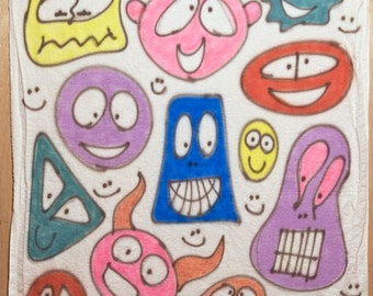 Smiley-face baby blanket #004