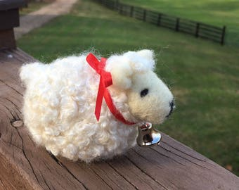 Molly the Curly White Sheep, needle felted sculpture
