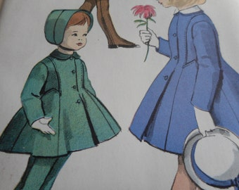 Vintage 1950's Vogue 2885 Child's Girls Coat and Leggings Size 6 Breast 24