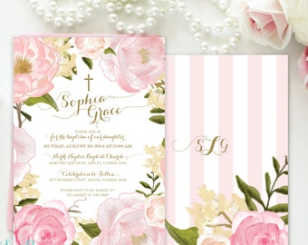 Baptism Invitation Girl Floral, Christening Invitation Girl, Dedication Invitation Girl, First Communion Invite Girl, Blush Pink White Grace