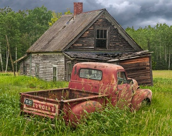 Pickup Truck, Rusty Truck, Chevy Truck, Abandoned House, Farm Homestead, Old Farm, Forlorn Auto, Fine Art, Rural Landscape, Auto Photograph
