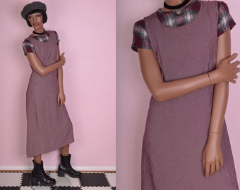 90s Burgundy and White Grid Print Dress/ US 8/ 1990s/ Tank/ Sleeveless