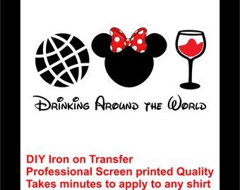 Disney Minnie Mouse Drinking Around the World Iron on T-shirt Transfer